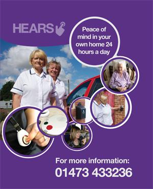 Advert for the HEARS emergency personal alarm service