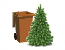 Brown bin and christmas tree