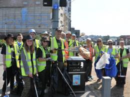 Volunteers help clean up the streets