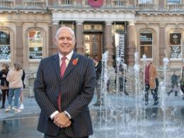 Terry Baxter in front of new Cornhill water fountains