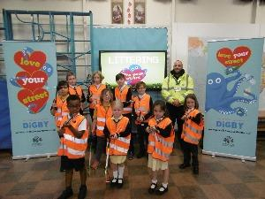 Pupils from St Pancras School pose with their litter kits
