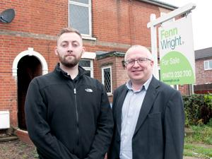 Council Leader David Ellesmere with Technical Officer Danny Newman at a house on Kemball Street