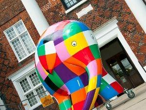 The sculpture of Elmer the Elephant for Elmer's Big Parade outside Christchurch Mansion