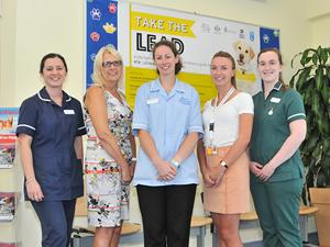 Pictured at Ipswich Veterinary Centre are (from left): Sophie Belcher, Denise Wright, Jessica Farmer, Alice Firbank (campaign organiser) and Laura Cook.
