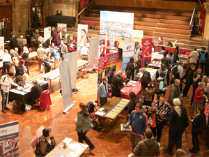 A big crowd of people at the jobs fair