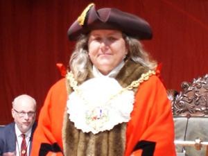 Mayor of Ipswich Councillor Jan Parry in Robes and Chain