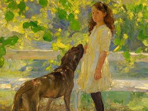 Painting of girl with dog