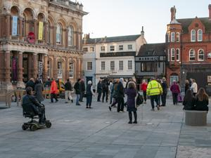 People gather at new look Cornhill