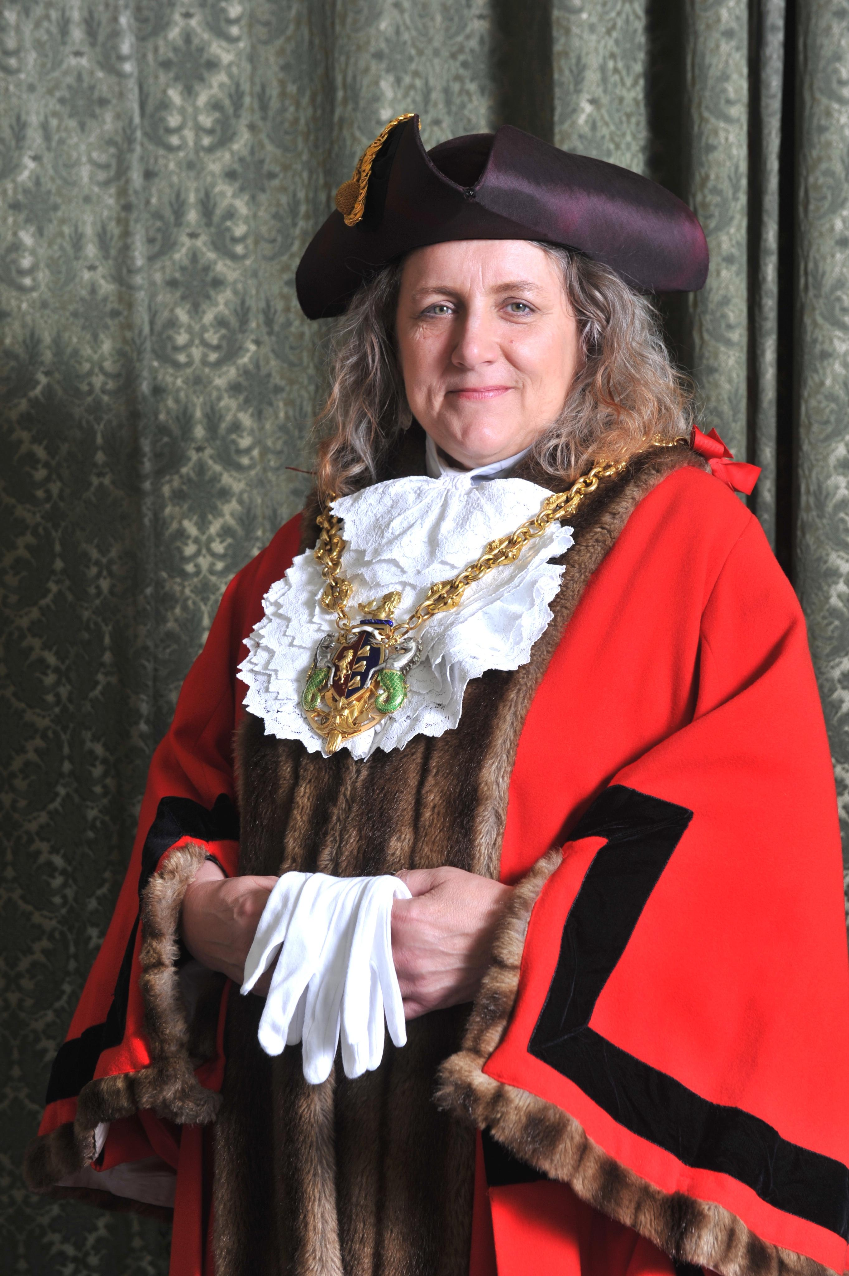 Mayor of Ipswich, Councillor Jan Parry in robes and chain