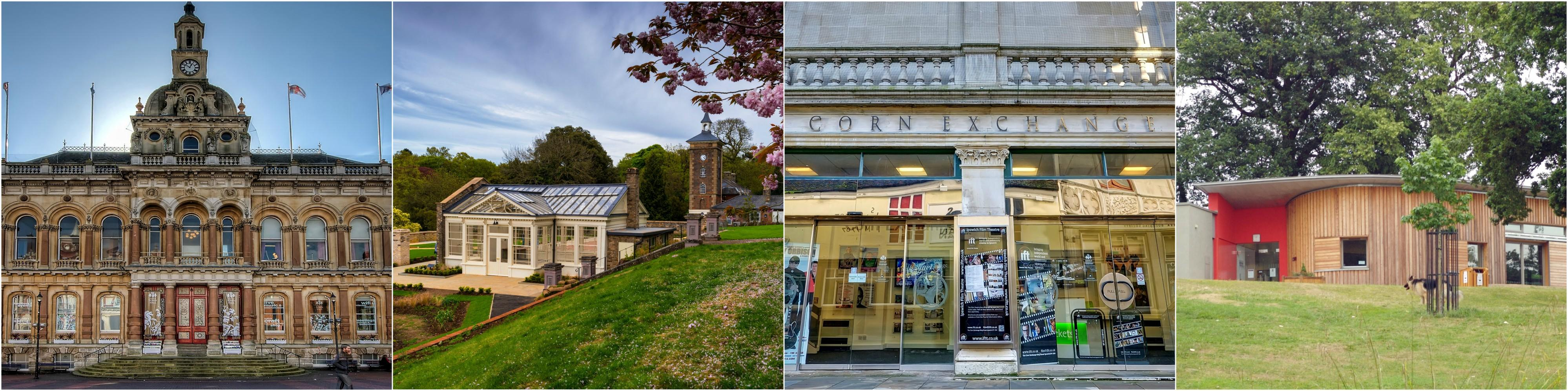 Ipswich Town Hall, Holywells Orangery, Corn Exchange and Reg Driver Centre