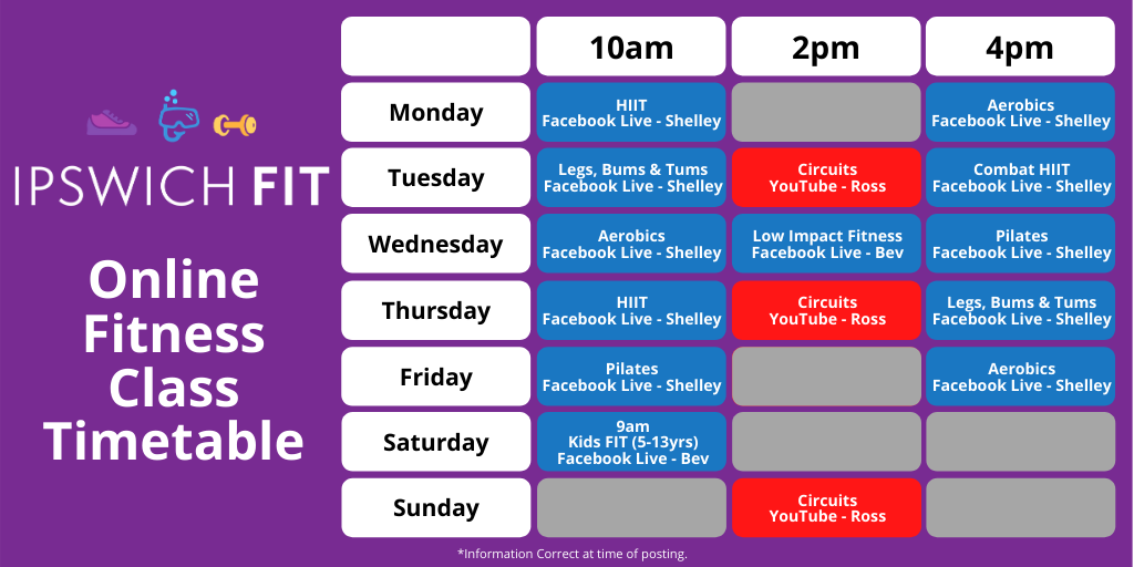 Timetable of classes that can be found at www.ipswichfit.co.uk
